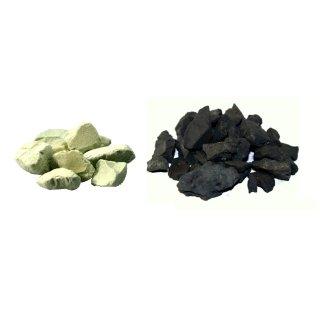 Schungit Rohsteine 500 g und Zeolith Rohsteine 500 g Wassersteine Set