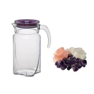 Grundmischung Wassersteine Amethyst Bergkristall Rosenquarz 300g mit1,7L Glaskaraffe
