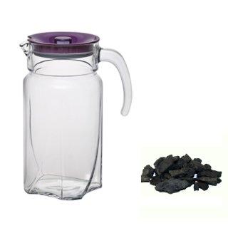 Schungit Wassersteine 200g mit einer Glaskaraffe 1,7L Wohlfühl Mischung