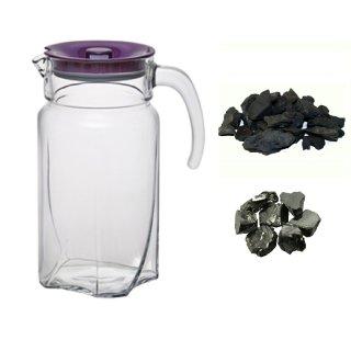 Edel Schungit 20g Schungit Splitt 200g Wassersteine mit Karaffe 1,7L