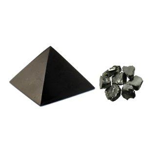 MyHomeLux Schungit Set Pyramide 5cm poliert und Edel Schungit 10g Vorteilsset! Wassermineralisierung Elektrosmog Schutz Wassersteine