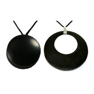 MyHomeLux Schungit Anhänger Set Kreis im Kreis + FORTUNE Anhänger Geschenkset EMF Strahlungsschutz Original aus Karelien