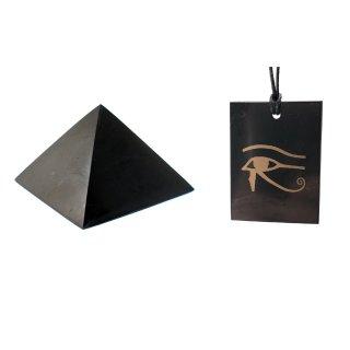 Schungit SET Anhänger HORUSAUGE + 5 cm Schungit PYRAMIDE Original aus Russland