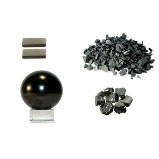 MyHomeLux Schungit Set aus 2x Handyplatten Schungit Kugel 4cm 200 Gramm Shungit Wassersteine 20g Edel Schungit