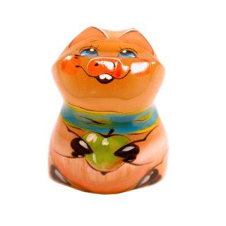 Selenit Figur Schweinchen mit Apfel aus orangenem Stein handgefertigt und handbemalt