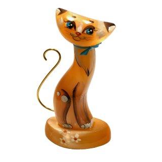 Selenit Katze Figur 11,5cm hoch orangenfarben Sammlerstück Edelstein