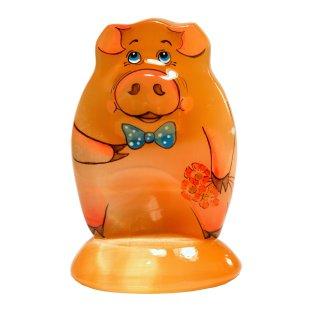 """Selenit Figur """"Schweinchen Boris"""" mit Blumenstrauß 7cm hoch"""