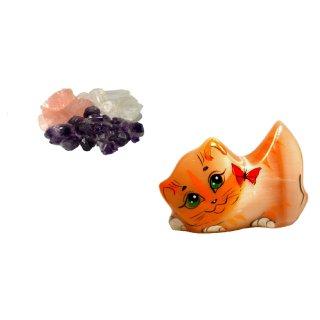 Grundmischung Wassersteine unbehandelt 200g und Selenit Katze mit Schmetterling