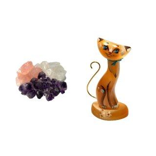 Wassersteine Mischung Amethyst Bergkristall Rosenquarz mit Selenit Katzenfigur 11,5cm hoch