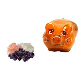 Grundmischung Amethyst Bergkristall Rosenquarz 200g + Schweinchen Glück aus Selenit