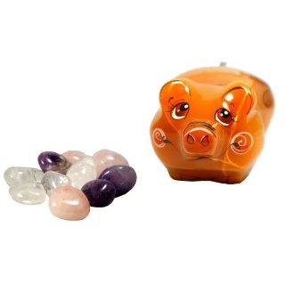 Wassersteine Amethyst Bergkristall Rosenquarz 200g mit Schweinchen Glücksbringer Figur